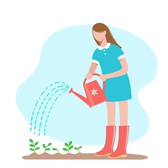Садоводство молодая женщина в своем саду поливает растения из лейки вектор