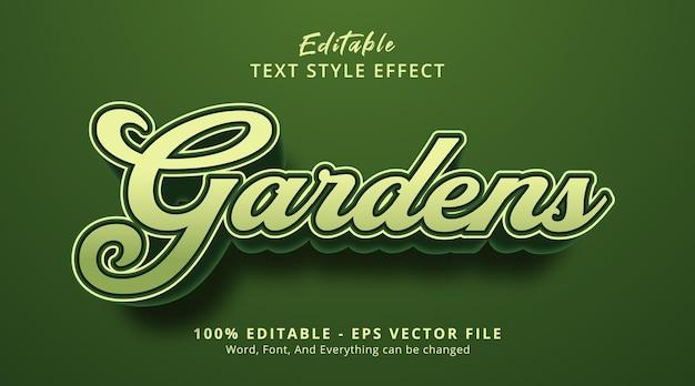 Gardens text on elegant green color headline style, editable text effect