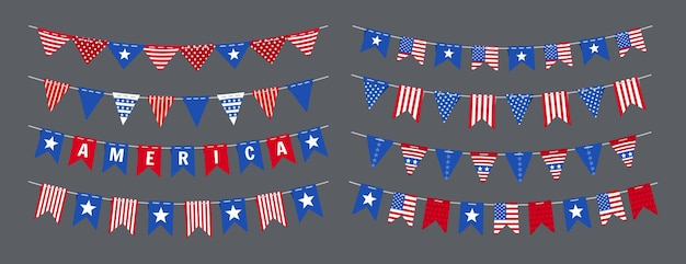Garland bunting american flag independence day set, usa celebration party patriotic decoration