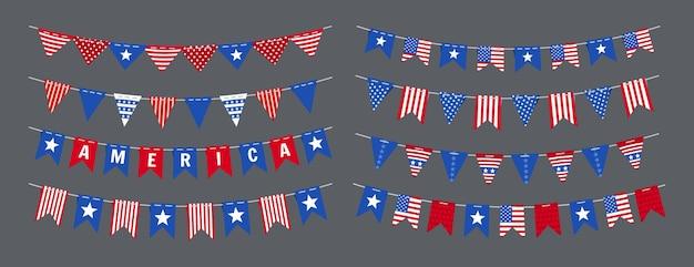 화환 멧새 미국 국기 독립 기념일 세트, 미국 축하 파티 애국 장식