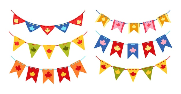 Garland bunting canada day flag set, canadian celebration party festoon multicolored hanging flags