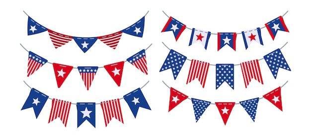 Garland bunting flag american independence day flat set, usa celebration party hanging decoration