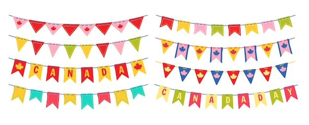 Garland bunting flag canada day bright color flat set, canadian celebration party hanging festoon