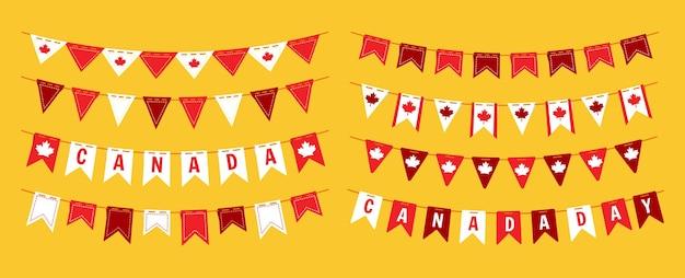 화환 멧새 깃발 캐나다의 날, 평면 세트 캐나다 축하 파티 매달려 깃발