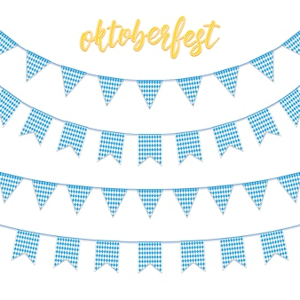 Garland buntings of bavarian checkered blue flag, and hand lettering oktoberfest.