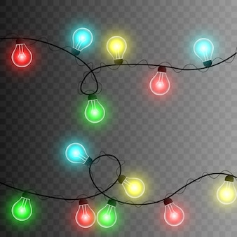 Garland. christmas garland. multi-colored light. garland png. christmas. png wires.