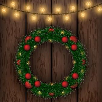 Гирлянда, рождественский венок. ель, снег. праздник, рождество. новогодние игрушки.
