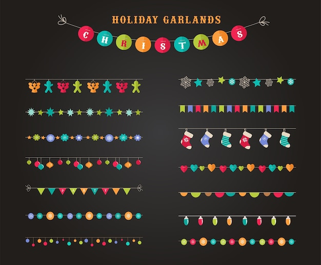 Garland - collection of patterns, brushes, borders for christmas and party