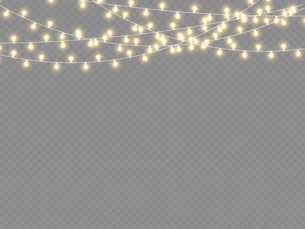 Гирлянда украшения рождественские огни изолированные
