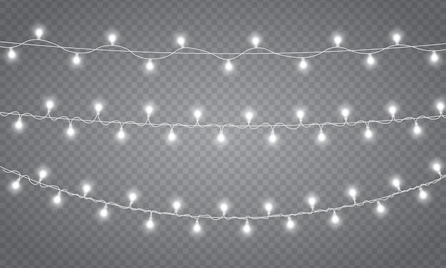 Garland decorations, christmas lights isolated