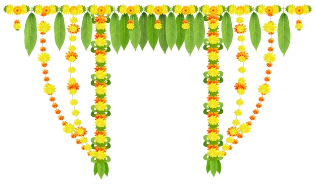 Garland for door of mango leaves and marigold flowers. ugadi or gudi padwa indian lunar new year