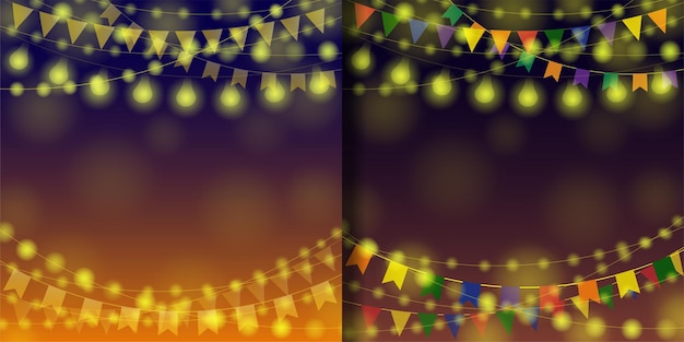 Garland festival backgrounds set for templates with text place