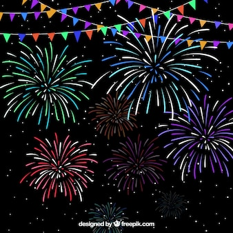 Garland and fireworks background