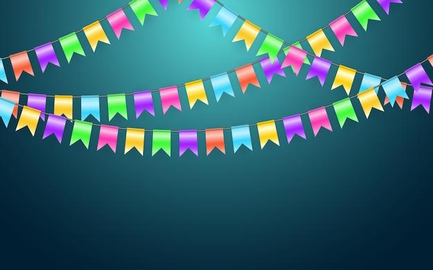 화환 깃발과 파티와 즐거움 개념에 색종이. 축 하 배경 템플릿입니다.