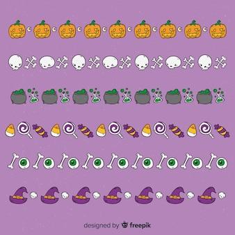 Garland of hand drawn halloween elements