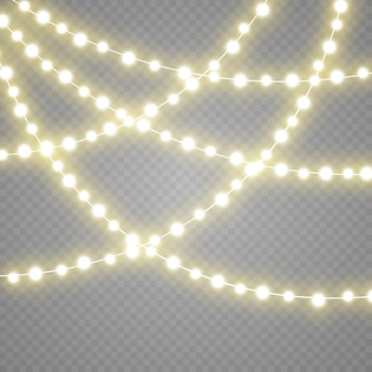 Garland lights isolated on transparent background.