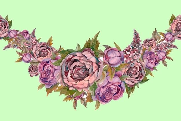 꽃의 화환. 무늬. 수채화. 모란.