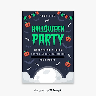 Garland and pumpkins halloween party poster template