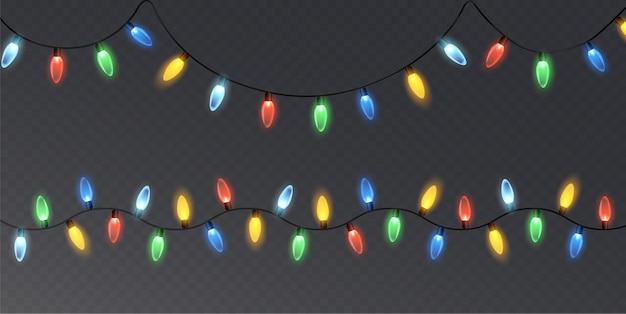 クリスマスライトで輝くガーランド。お祭りの装飾要素。