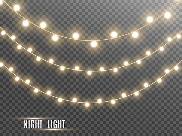 Garland string, decorative lightbulbs.