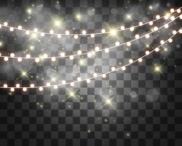 Garland string, glowing lightbulbs.