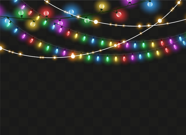 Garland string lights isolated on transparent background. xmas glowing garland.