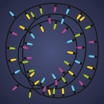 色付きのライトが付いた花輪。ガーランドは円の形をしています。