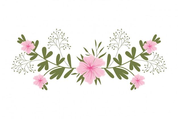 Гирлянда с цветами и листьями изолированных значок