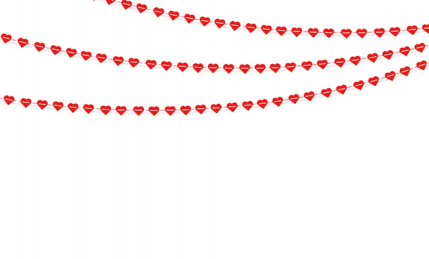 Garland with hanging hearts. love romance valentines day