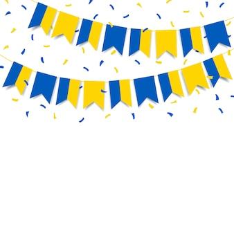 Гирлянда с флагом украины на белом