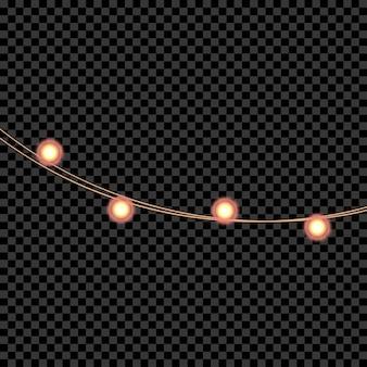 화환 크리스마스 조명 새해와 크리스마스 장식을 위한 사실적인 빛나는 조명