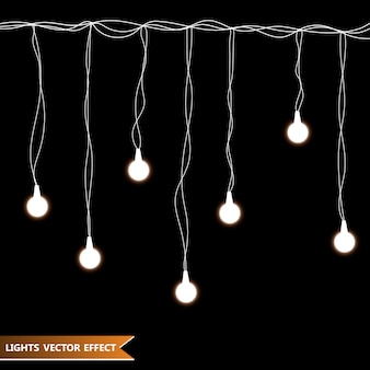 Garlands decorations. lights isolated realistic design elements.