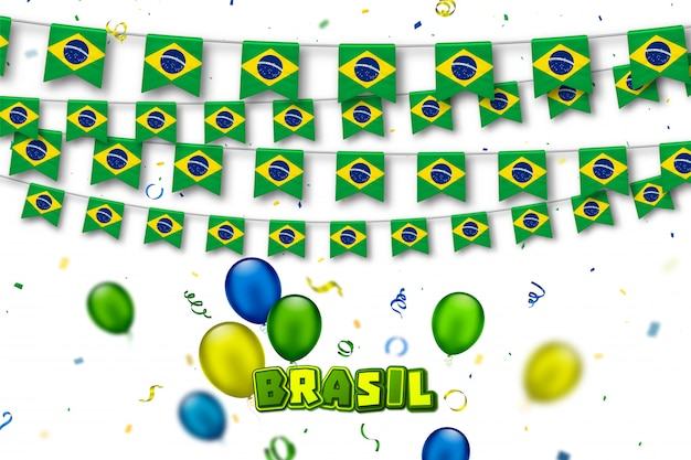 Garlands flags of brazil with serpentine and colorful balloons
