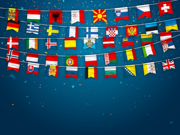 Garlands of flags of different countries of europe