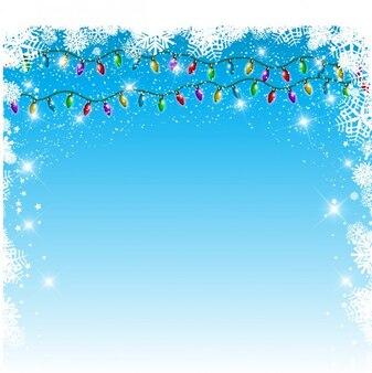 Гирлянды огней на фоне снежинок синий