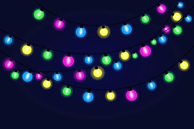 クリスマス、新年のバナー、カードのためのクリスマスのお祭りのライトの花輪。