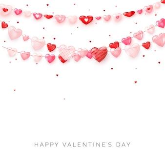 ハートの花輪。バレンタインデーや結婚式の日の装飾要素。