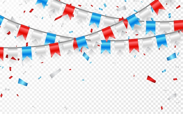 Гирлянды красных белых синих флагов. конфетти из синей, белой и красной фольги.
