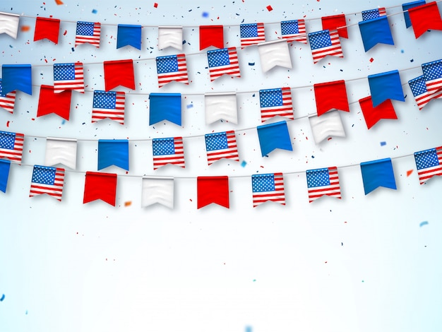 Garlands of usa flags. banner to celebrate