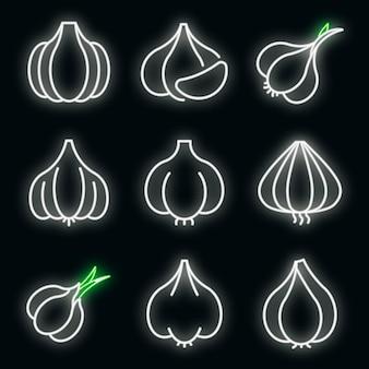 Набор иконок чеснока. наброски набор чеснока векторных иконок неонового цвета на черном