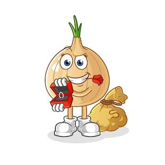 Garlic mascot propose and holding ring