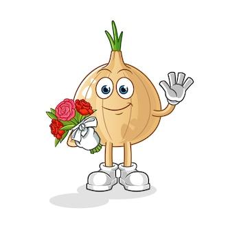Garlic mascot with bouquet