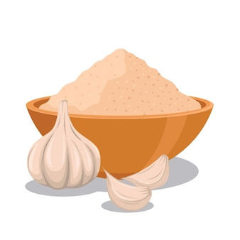 Garlic powder in the bowl with whole garlic illustration