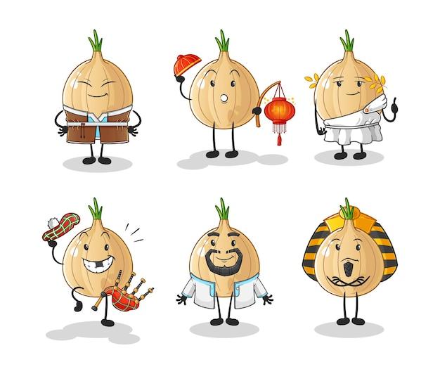 Garlic world culture group. cartoon mascot