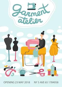 Manifesto pubblicitario dell'atelier di abbigliamento con indirizzo, numero di telefono e data di apertura