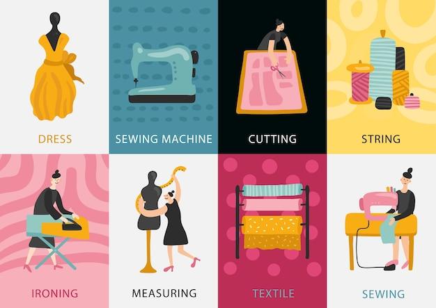 Набор карточек швейной фабрики изготовления одежды из текстиля и измерения до резки, шитья, глажки, плоской иллюстрации