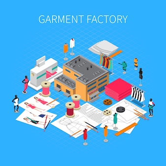 Garment factory isometric illustration with patterns and samples symbols