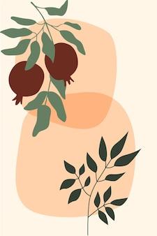 Гранат и ветка растения бохо минималистская иллюстрация
