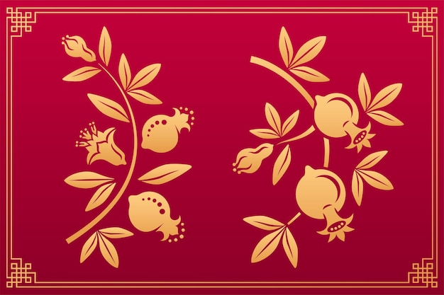 Garnet asian ornament with flowers and fruits japanese and chinese gold patterns of garnet flowers