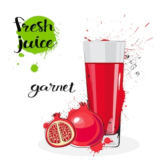 Garnet juice fresh hand drawn watercolor fruits and glass on white background